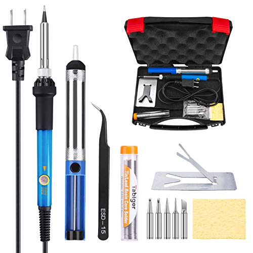 Tabiger Soldering Iron Kit 60W 110V-Adjustable Temperature Welding Soldering Iron with Tool Carry Case (Best Soldering Iron For Guitar)