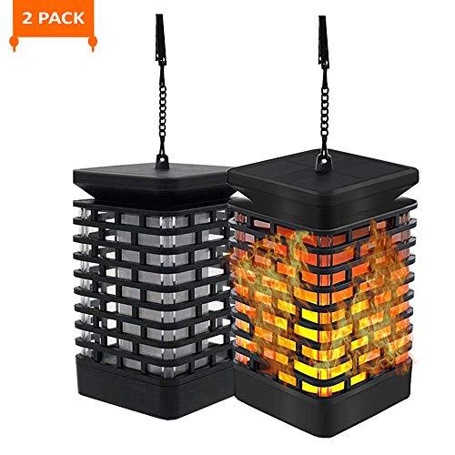 Electrolantern Solar Flame Light Outdoor Hanging Lantern Dancing Flicking Flame Lights Solar Powered Lantern Light for Patio Garden Deck (2 Pack) ()