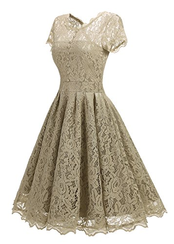 Anatoky Lace Formal Beige Cap Cocktail Foral Dresses For Dress Short Women Sleeve Bridesmaid Vintage Party wz5rqw6U