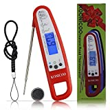 Meat Thermometer Instant Read for Cooking Food BBQ Kitchen Bar Bartender Grill Smoker Water Candy Sugar Home,Best Ultra Fast Digital Kitchen Probe.Meat Temperature Guide Included-KOINCOO (Red)