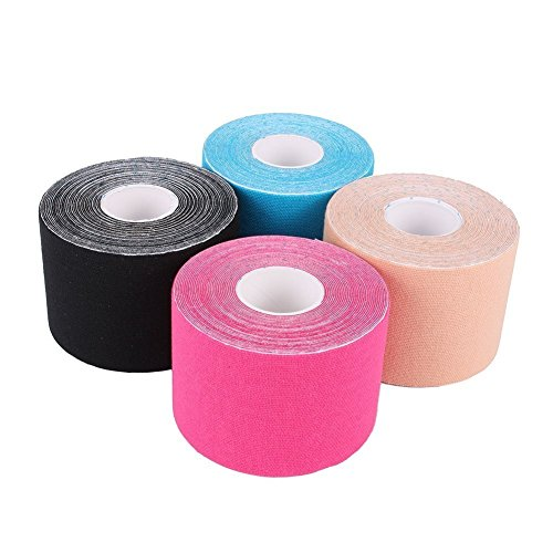 Yosoo 4Pcs 5Cm5m Kinesiology Elastic Tape Rope Sports Physio Muscle Strain Injury Support Tape Therapeutic For Muscles Care Elastic Physio Therapeutic Pain Relief