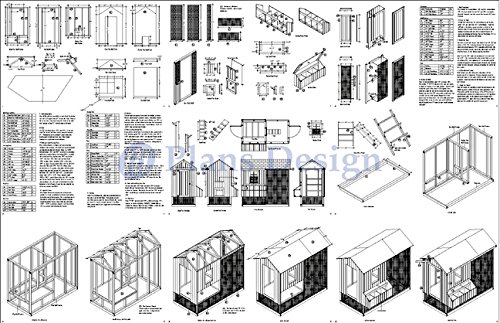 DIY Chicken Coop / Hen House 4 ft x 8 ft Gable / A Frame Roof Style Project Plans, Design 70408RG