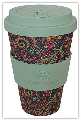 FLORIDITTA por Happy Earth (Taza de cafe ecologica reutilizable 450 ml, hecha con fibra de bambu natural organica, se puede utilizar como taza de viaje o taza de cafe casera)