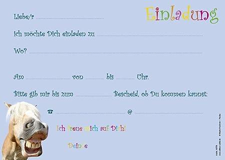 12 lustige Pferde Einladungskarten zum Kindergeburtstag von