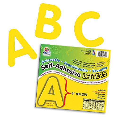 Pacon PAC51622BN Self-Adhesive Letters, Yellow, Puffy Font, 4