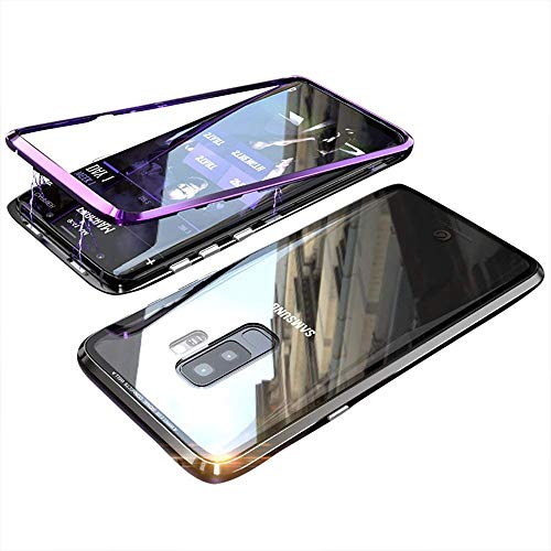 Transparent Metal - Magnetic Adsorption Case for Samsung S9 Plus/S9+ Case Luxury Shockproof Metal Bumper+Transparent Tempered Glass Front for Samsung Galaxy S9 Plus Phone Cover Case Protective Case (Purple+Black)
