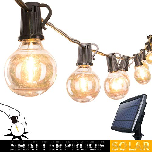Solar Outdoor String Lights-20Ft. Shatterproof G40 Globe Patio Lights with 20 LED Bulbs & 4 Light Modes, Outdoor Hanging Lights for Patio Garden Backyard Bistro Pergola Gazebo Party Decor, Black Wire (Bulb Lights Solar String)
