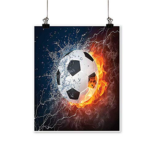 - Canvas Painting Soccer Ball Fire and Flame Splashing Thunder Lightning Abstract Home Decor on Canvas,24
