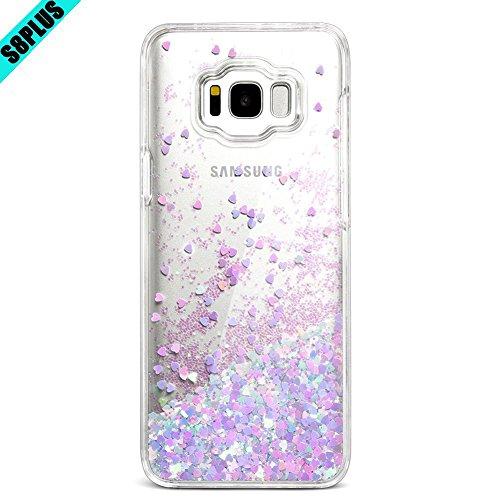 - Galaxy S8 Plus Case, Caka Galaxy S8 Plus Liquid Case Luxury Bling Flowing Liquid Floating Glitter Sparkle Love Heart Case for Samsung Galaxy S8 Plus - (BluePink)
