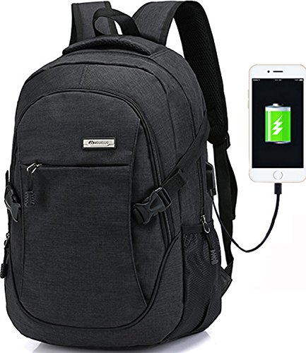 Cheap Trustbag a-001 Business Laptop Backpack With USB Charging Port, Anti Theft Lightweight Travel Bag for Women and Men, Fits Under 17 Laptop/Computer, Black