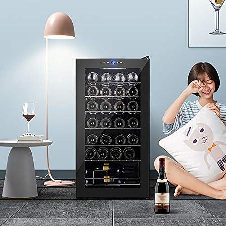 VIY Nevera vinos vinoteca para vinos Nevera para Bebidas, Refrigerador gastronomía16 Botellas 7 Baldas de Acero Inoxidable Iluminación LED Módulo Independiente Negro
