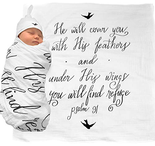 Muslin Swaddle & Bonus Baby Hat with Scripture Quote (Psalm 91) - 100% Organic Unbleached Cotton - Swaddle/Blanket is a Unique Shower & Baptism Gift - Christening, Child of God, Newborn Bible, Bird ()