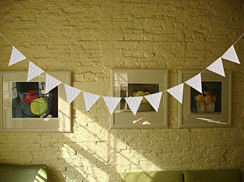 BROSCO Lace Bunting Banner Rustic Wedding Favour Garland Home Hanging Decor Sign