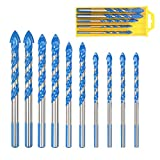 ZoomSky 10 PCS Masonry Drill Bit Set Tungsten Carbide Tipped Ceramic Tile Drill Bits Twist Drill for Concrete Brick Glass Plastic and Wood Assorted Size 6/8/10/12MM