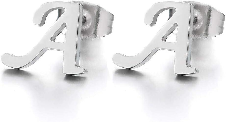14k White Over Sterling SilverA to Z Alphabet Initial Letter Heart Stud Earrings