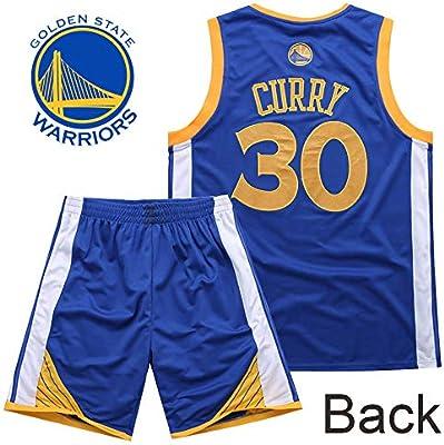 Camisetas de Baloncesto para niño y niña, Stephen Curry #30 Camiseta de Baloncesto para niño Chaleco Pantalones Cortos de Verano Camiseta NBA Golden State Warriors: Amazon.es: Deportes y aire libre