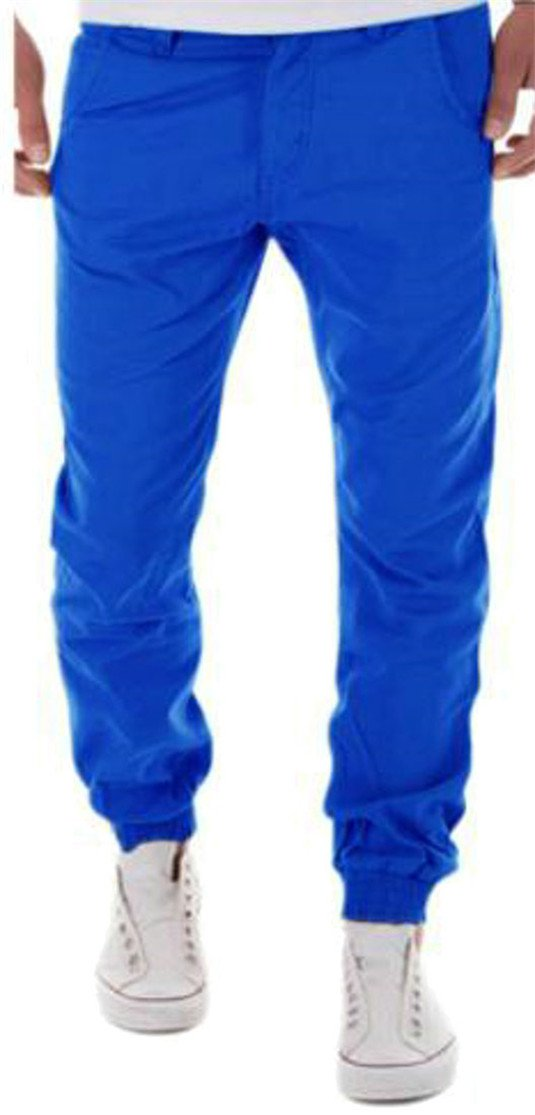 Pivaconis Men's Loose Pocket Harem Wicking Sweatpant High Waist Jogger Pants Jewelry Blue M