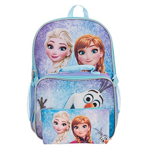 Disney Frozen Elsa, Anna & Olaf Girls 15 Inch School Backpack Set with Lunch Kit and Pencil Case