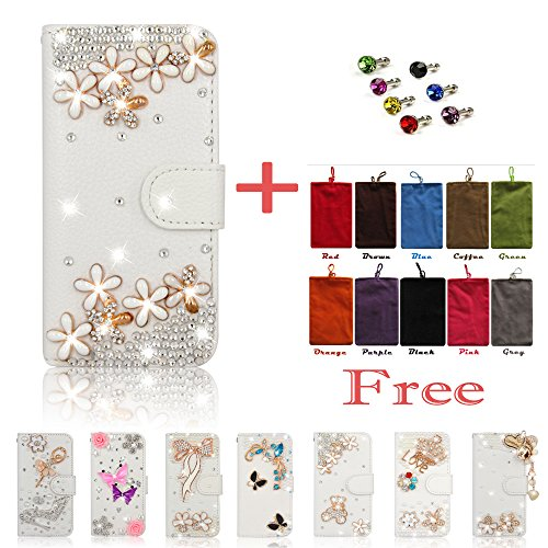Boutique Handmade DIY iPhone 6S Case Bling Glitter Rhinestones Smart Cover Full Protective Case Cover + Velvet Protective Sleeve Pouch Bag + Dust Plug For Apple iPhone 6/6S (4.7 inch) Model