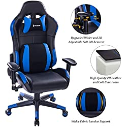 VON RACER Multifunctional Gaming Chair - Elegant Reclining Computer Desk Chair with Soft Memory Foam Seat Cushion - Ergonomic Office Chair with Removable Headrest Lumbar Support Pillow (Blue)