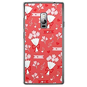 Loud Universe OnePlus 2 Love Valentine Printing Files Valentine 34 Transparent Edge Case - Red/White