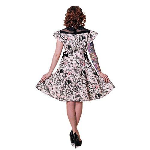 Vietato in stile retrò estivo dell'abito collare di Peter Pan e farfalle - Black trillo and Butterflies