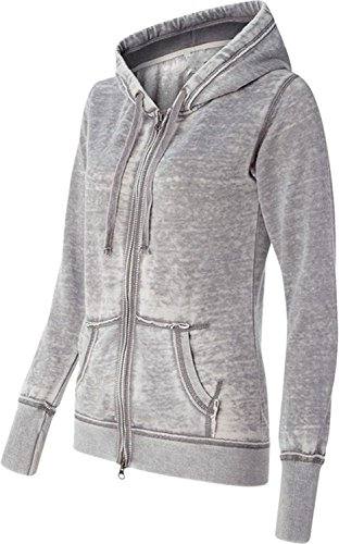 Yoga Jacket - Women Athletic Zip up Jacket - Burnout Light Weight Soft Fleece - Hooded Sweatshirt. (X-Large, Cement)