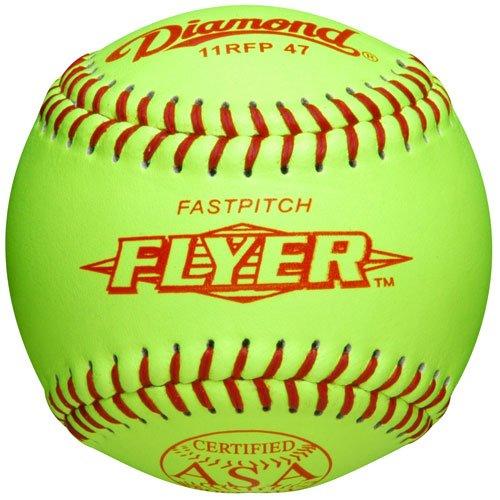 Diamond 11-Inch Leather Cover Fastpitch Softball, Polyurethane Core, ASA Stamped, Dozen