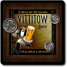 Vittitow Family Name Beer and Ale Rubber Drink Coasters - 4 Pack