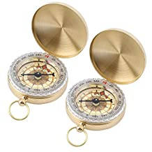 TraderPlus 2 Pcs Military Compass Hiking Camping Survival Gear Compass Outdoor Navigation Tools, Glow in the Dark
