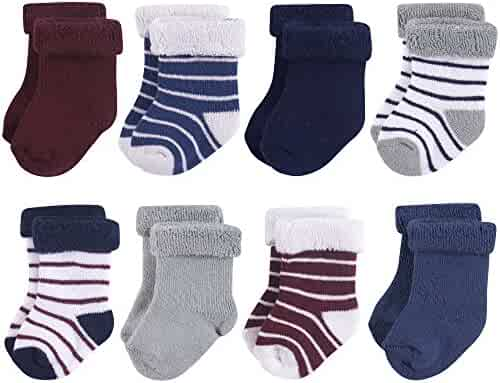 Hudson Baby Basic Socks, 8 Pack, Navy Gray Stripes, 6-12 Months