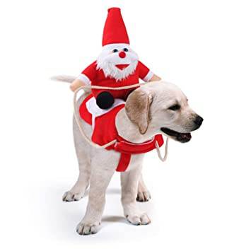 Idepet Dog Christmas Outfit, Dog Christmas Costume Suit with Santa Claus  Riding on Pet Cat Dog Coat Red (M)