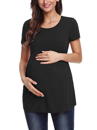 85cf9117eb8c2 Jezero Women's Maternity Tops Short & Long Sleeve Side Ruching Round Neck  Shirt Black, ...