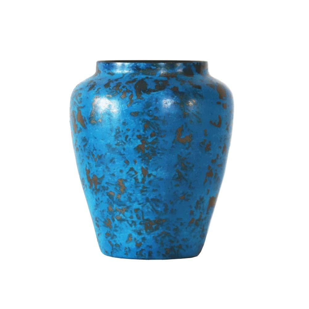 新しい中国風の古いブルーゴールド効果金属花瓶美しい創造的な花の装飾花瓶の装飾クリエイティブホームデコレーション女性パンプス (Color : Blue) B07SXK8WPB Blue