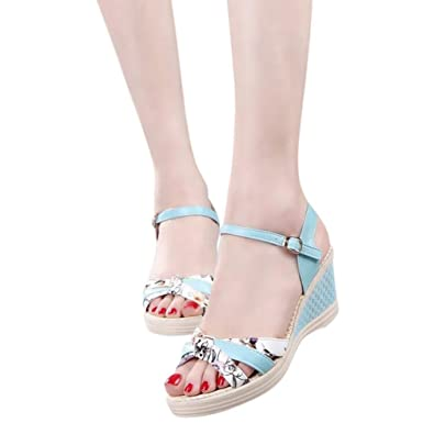 Familizo 2018 Beautiful Ladies Casual Floral Wedges Shoes Summer Platform  Toe High-Heeled Rubber Buckle Strap Shoes Fashion Slippers Peep Toe Sandals  for ... 064864ef860c