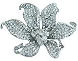 Sindary Wedding 3.74'' Silver-tone Clear Rhinestone Crystal Orchid Flower Brooch Pin Pendant (Silver-Tone Clear)