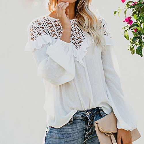 en Cou V de Automne Tonsee De Haut Crochet Blouse Chemise Femme Patchwork Creux Volant Blanc Dentelle Dentelle Hiver Casual Soie Mousseline Cherie 7ww45qnvxP