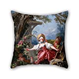 bestseason oil painting Jean-Honoré Fragonard - Blind-Man's Buff pillowcover 20 x 20 inches / 50 by 50 cm for relatives,club,home theater,couch,wedding,son with twin sides