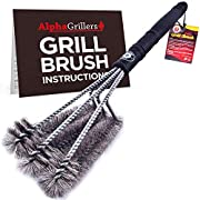 "#LightningDeal 99% claimed: Alpha Grillers 18"" Grill Brush. Best BBQ Cleaner. Safe for All Grills. Durable & Effective. Stainless Steel Wire Bristles and Stiff Handle. A for Barbecue Lovers."