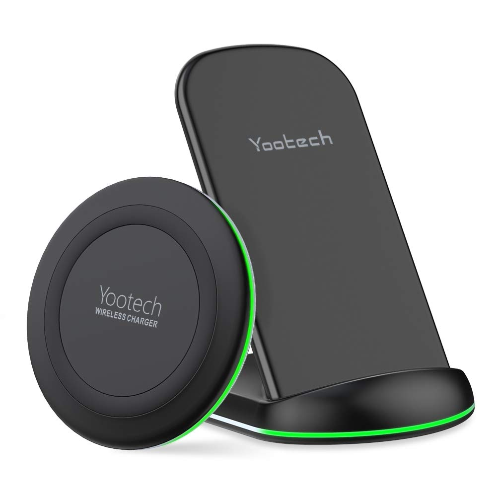 Yootech Wireless Charging Bundle, [2 Pack] 10W Qi-Certified Wireless Charging Pad Stand, Compatible iPhone 11/11 Pro/11 Pro Max/Xs MAX/XR/XS, Galaxy Note 10/Note 10 Plus/S10Plus/S10E(No AC Adapter) by yootech