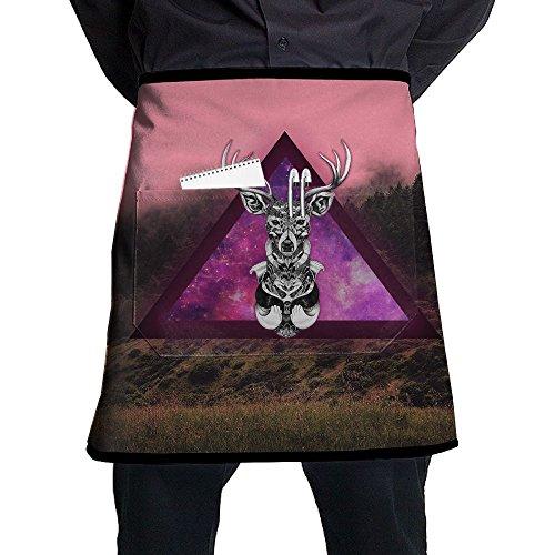 Kjiurhfyheuij Half Short Aprons Galaxy Deer Waist Apron With Pockets Kitchen Restaurant For Women Men Server