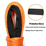 "Synthetic Winch Rope ELUTO 49'x1/4"" 7000+LBs Winch Rope Line Cable with Sheath Winches for Winches SUV ATV UTV Vehicle Boat Ramsey Car Orange"