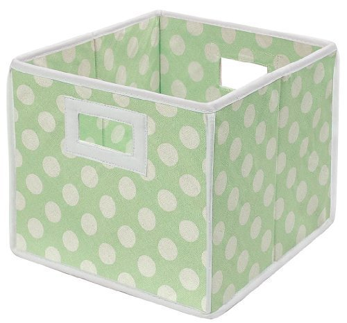 Badger Basket Folding Nursery Basket/Storage Cube, Sage Dot by Badger Basket