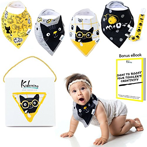 Bandana Bibs for Boys and Girls | 100% Cotton Absorbent Baby Bib Gift Set of 4 + Pacifier Clip + eBook