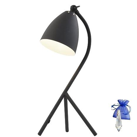 Lámpara de mesa Industrial Negro Mate E14 Vintage lámpara de ...