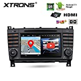 XTRONS HDMI Android 7.1 Quad Core 7 Inch HD Digital Touch Screen Car Stereo Radio DVD Player GPS for Mercedes Benz W203 W209 C/CLK-Class C270 C320