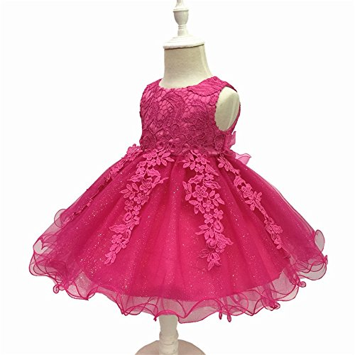 Liyizo Petite Fille Grand Arc Robe Robe De Fille De Fleur De Mariage Robe Occasion De Fête De Communion Rose Rouge