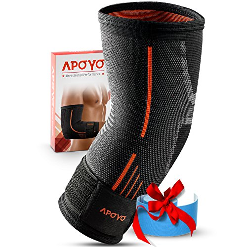 APOYO Elbow Brace Compression Sleeve, Athletic Elbow Support for Basketball, Weightlifting, Extra, Tendonitis Brace With Adjustable Strap & Bonus Elastic Therapeutic Tape, Great for Workouts & Sports – DiZiSports Store