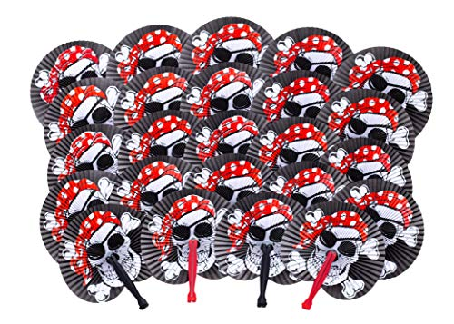 Pirate Party Supplies - 24 Folding Paper Pirate Fans - Great Addition To Pirate Party Favors & Pirate Birthday Party Supplies - Fun For Adults & Kids - Perfect For Pirate Decorations Or Pinata Prizes