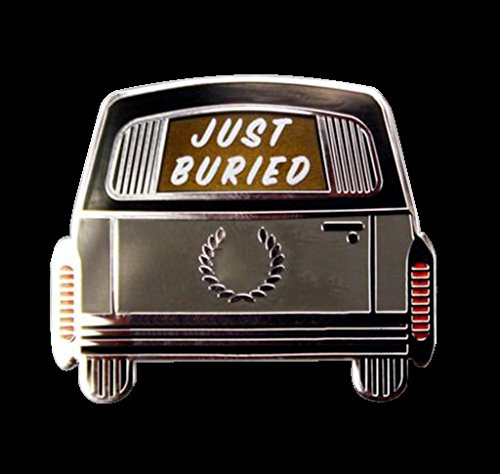 Just Buried Hearse Enamel Pin Halloween Funeral Horror